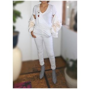 T8 H&M white overall pants